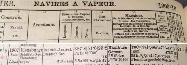 Lloyd's Register, steamer Fürth