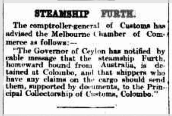 Steamship Furth, The Argus, Melbourne, Ausgabe vom 11. September 1914, Seite 8, Quelle: National Library of Australia