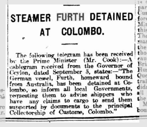 Steamer Furth detained at Colombo, The Express and telegraph, Adelaide, Ausgabe vom 8. September 1914, Seite 1, Quelle: National Library of Australia