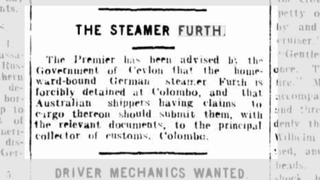 The Steamer Furth, The Telegraph, Brisbane, Ausgabe vom 7. September 1914, Seite 7, Quelle: National Library of Australia