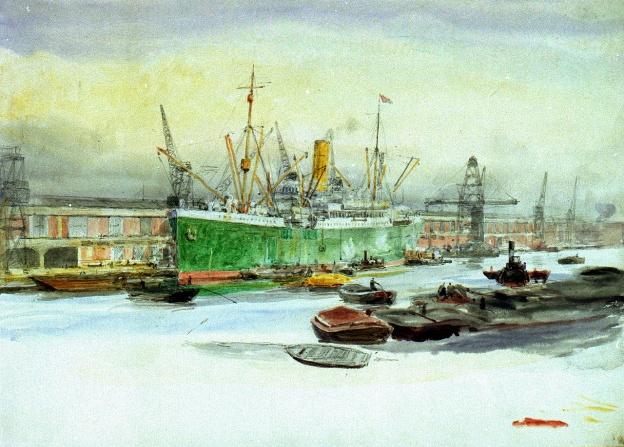 London Docks, 1920, Wyllie