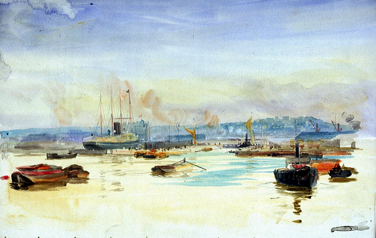 Tilbury Docks, London, William Lionel Wyllie