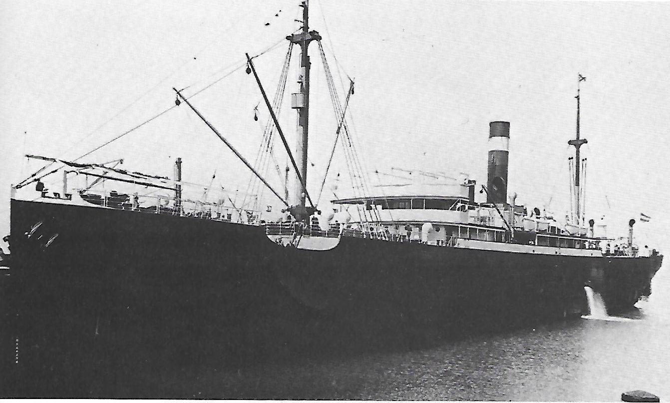 """Das Dampfschiff """"Oberhausen"""", bei Kriegsausbruch in Tasmanien und dort beschlagnahmt; © Reinhart Schmelzkopf: Deutsch-Australische Dampfschiffs-Gesellschaft, Hamburg 1888-1926"""