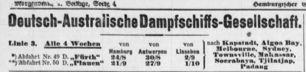 German Australian Line, Furth, Plauen