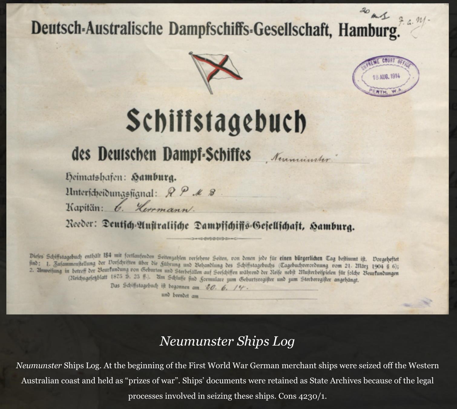 Logbuch Neumünster 1914, log book