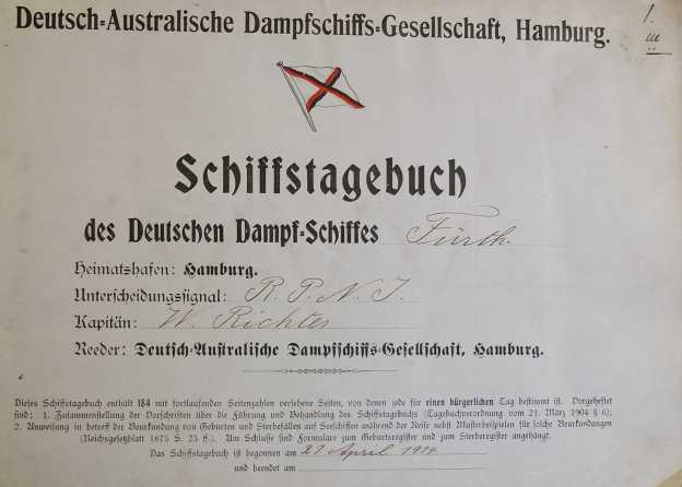 logbook German-Australian Liner Furth 1914