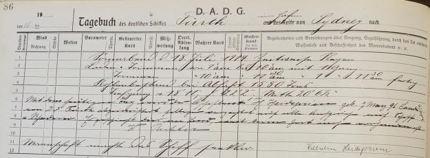 log book steam ship Furth 1914