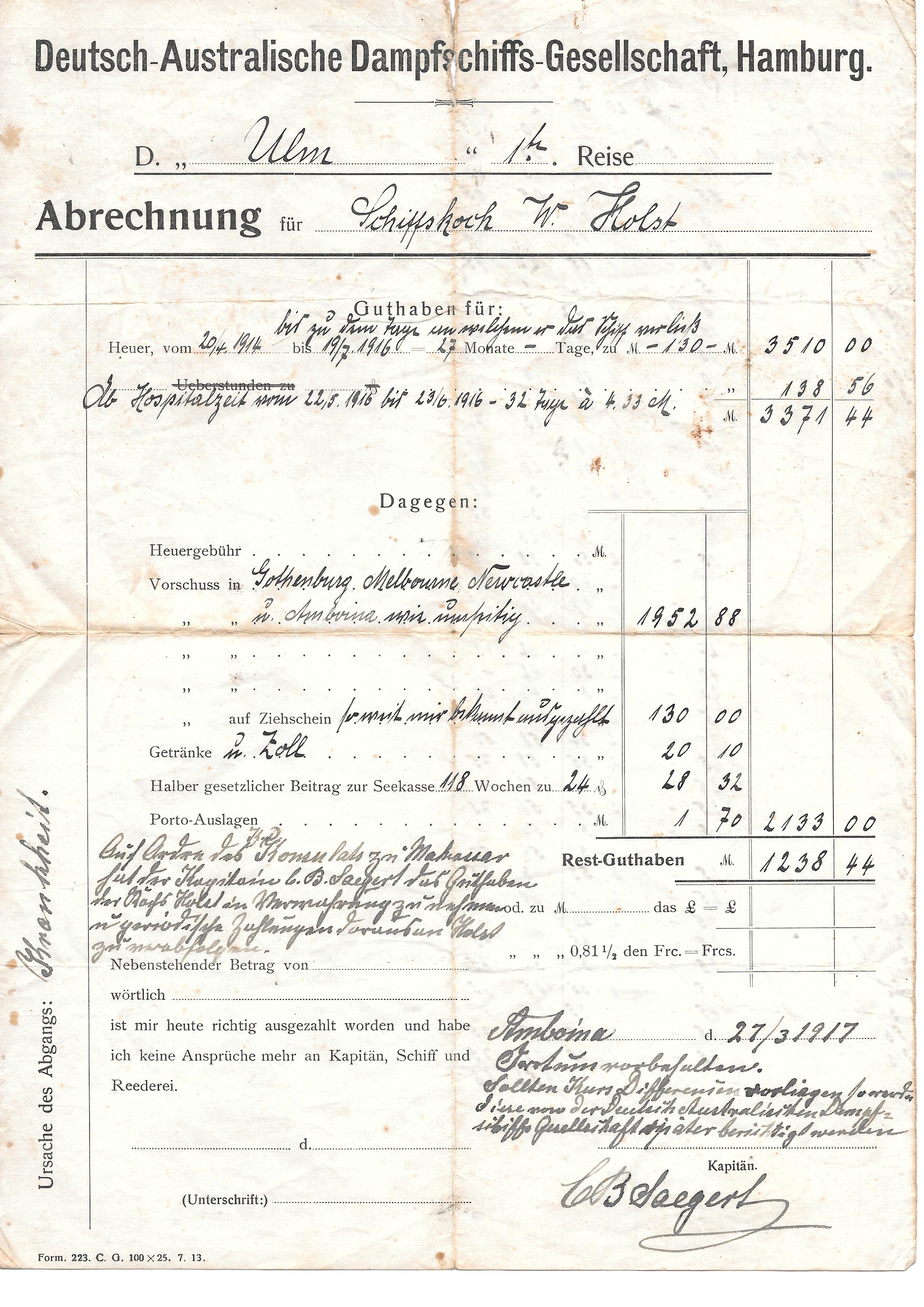 Wilhelm Holst, Schiffskoch