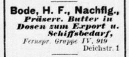 Präservierte Butter von H. F. Bode, Hamburger Adressbuch 1917, Quelle: agora.sub.uni-hamburg.de