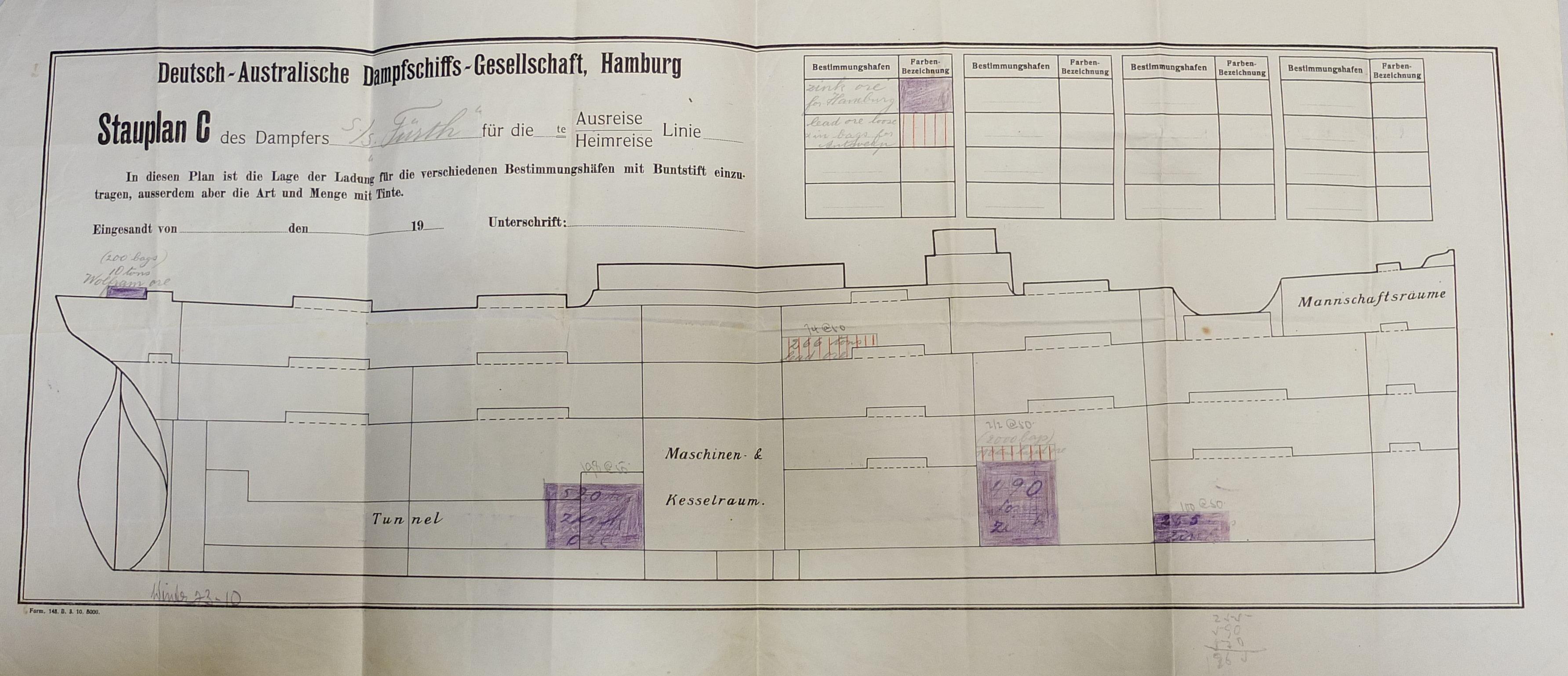 Stauplan, Dampfschiff Fürth 1914