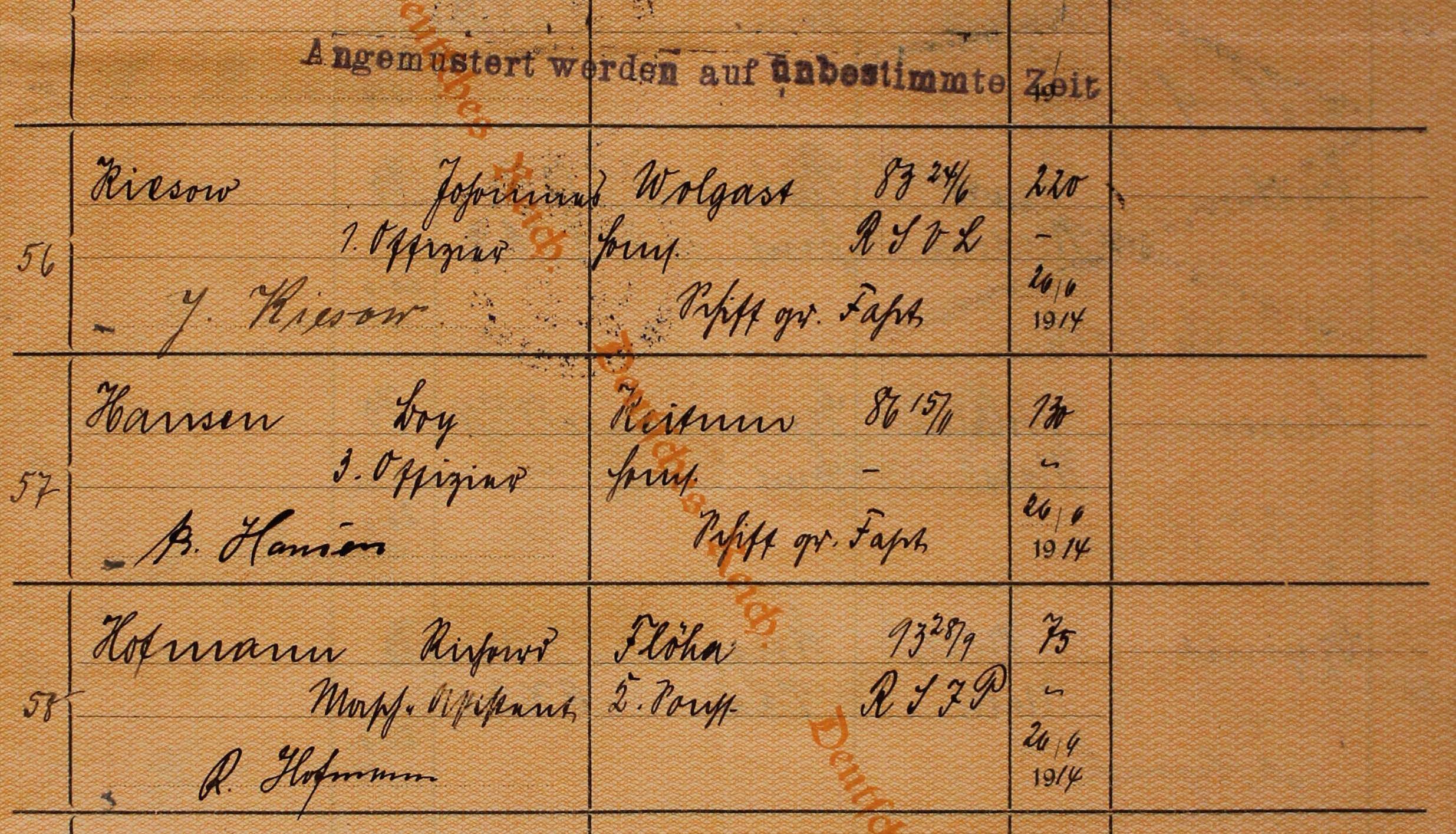 ship's articles Neumunster 1913/14