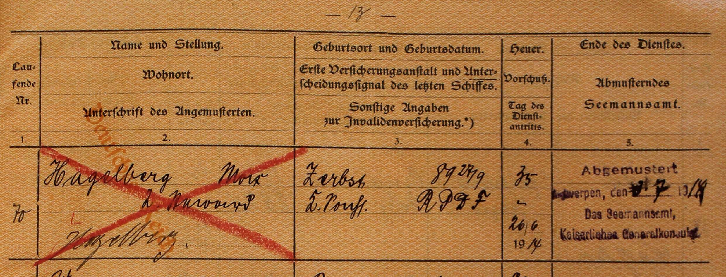 ship's articles, Neumunster 1914, Max Hagelberg