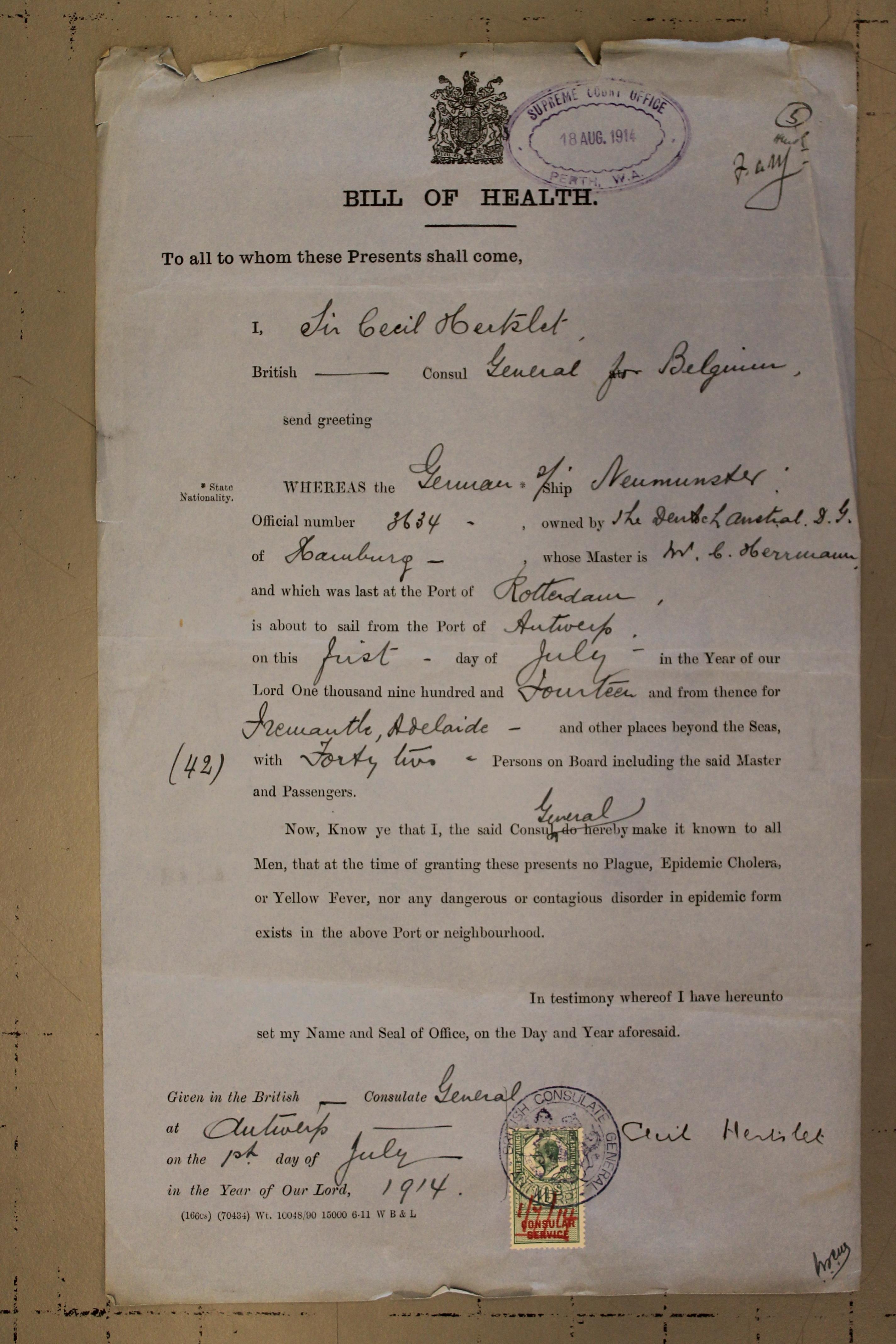 Bill of Health 1914