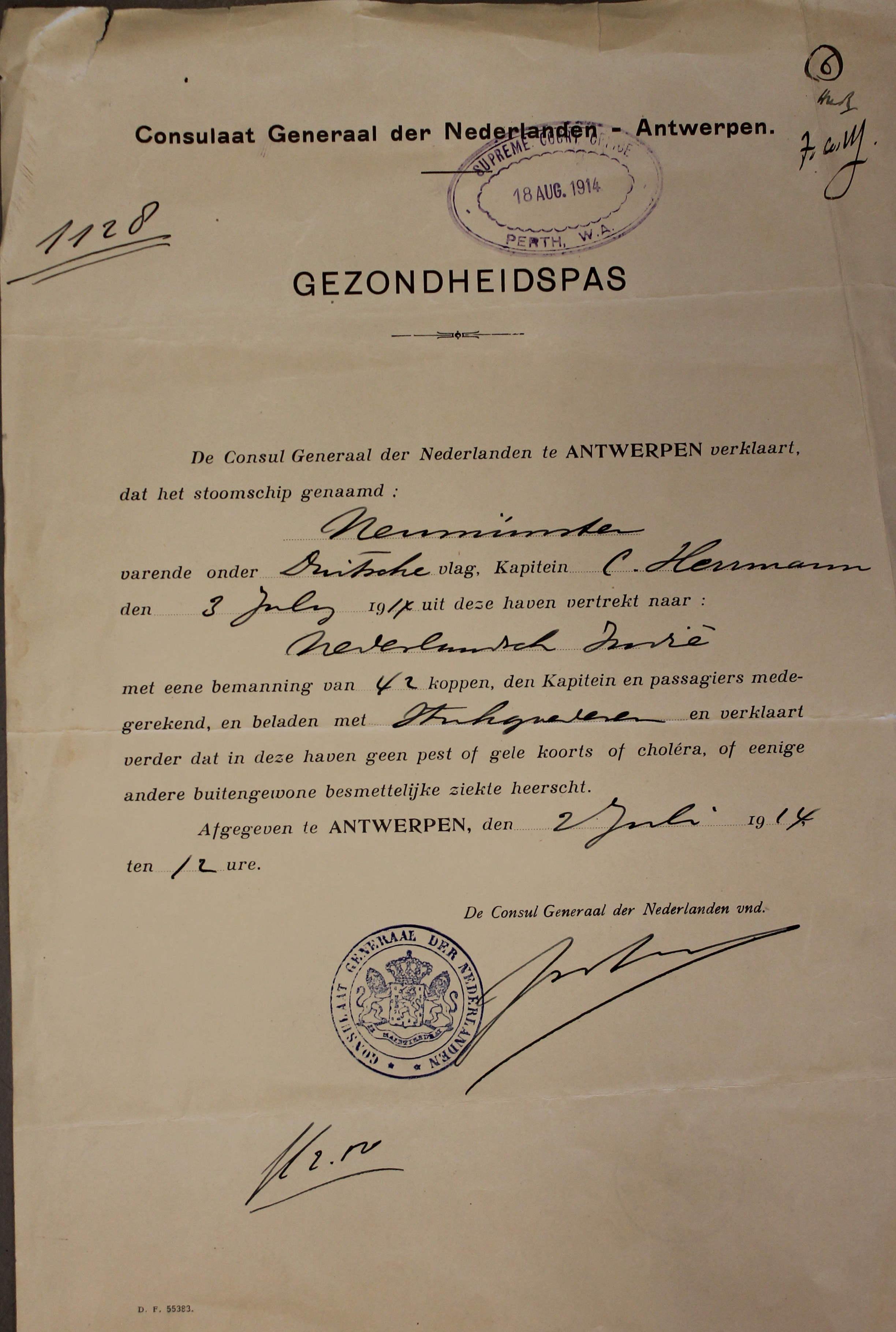 Gesundheitspass Schiff Neumünster 1914