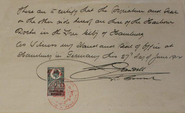 Bescheinigung Hafenarzt Hamburg, Bestätigung Britisches Konsulat 1914