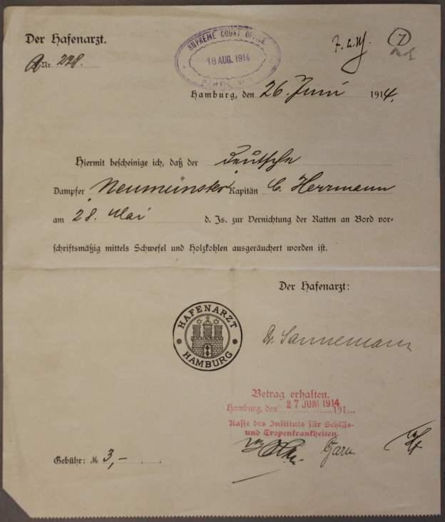Hafenarzt Dr. Sannemann Hamburg 1914