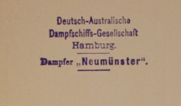 sailing and arrival code, German Australian Line 1914