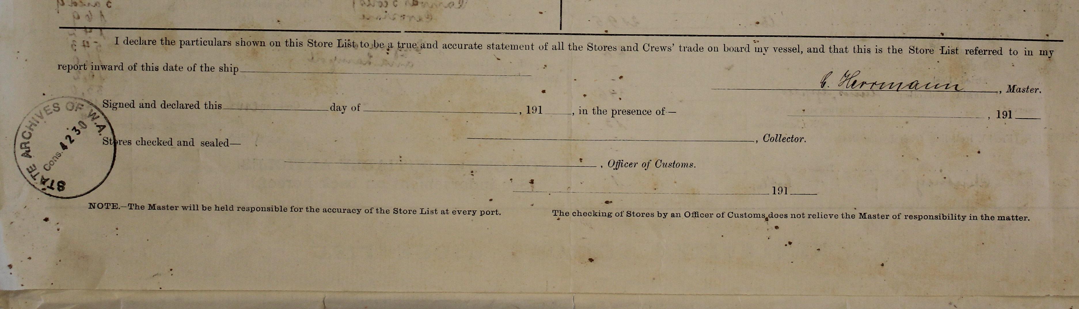 Australian Customs, store list, 1914