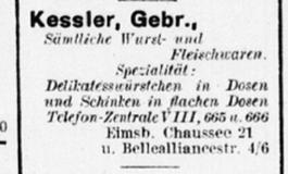 Delikatesswürstchen und Schinken von Kessler, Hamburger Adressbuch 1917, Quelle: agora.sub.uni-hamburg.de