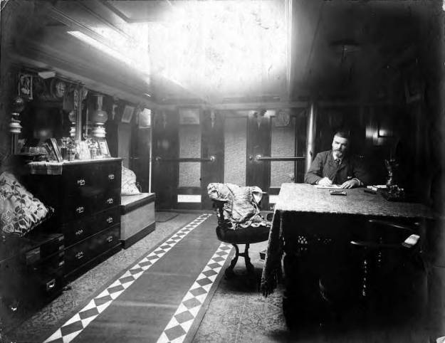 Wilhelm Hester, man, interior of ship, about 1900