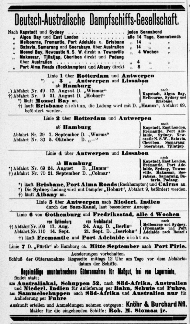 German Australian Line timetable 1912