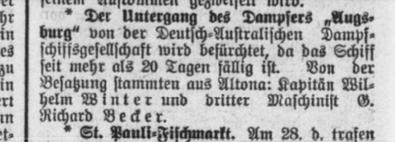 steamer Augsburg, Altonaer Nachrichten March 28th, 1912
