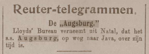 steamer Augsburg, De Sumatra-Post; 22.03.1912