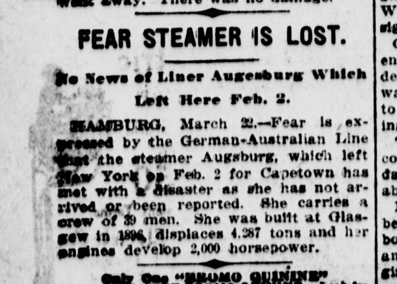 steamer Augsburg, March 1912