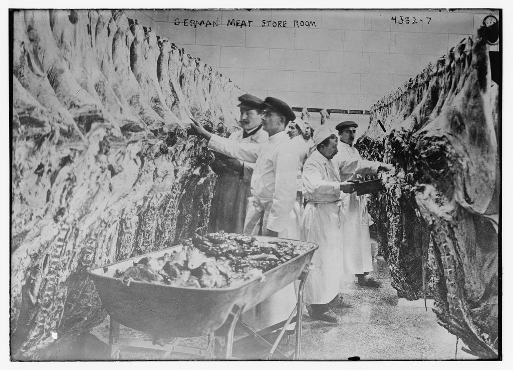 German meat store room, about 1915