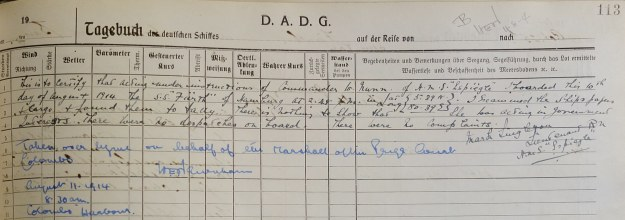 log book Furth August 1914