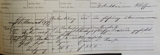 log book Furth August 11th, 1914