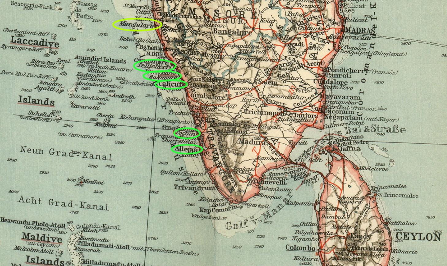 Ports at Malabar Coast 1914