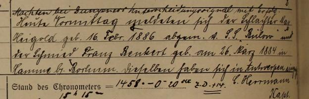 """Einschleicher, Schiff """"Neumünster"""" 1914"""
