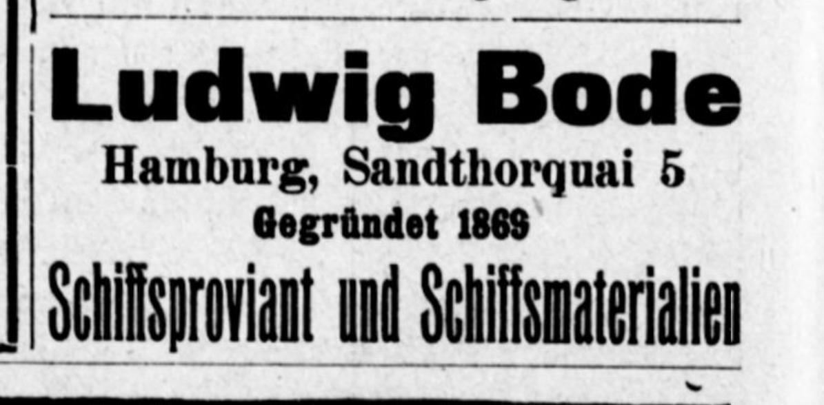 Anzeige Ludwig Bode, Schiffsproviant