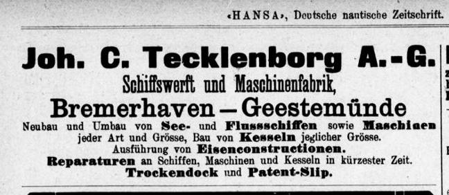 Tecklenborg Werft 1912