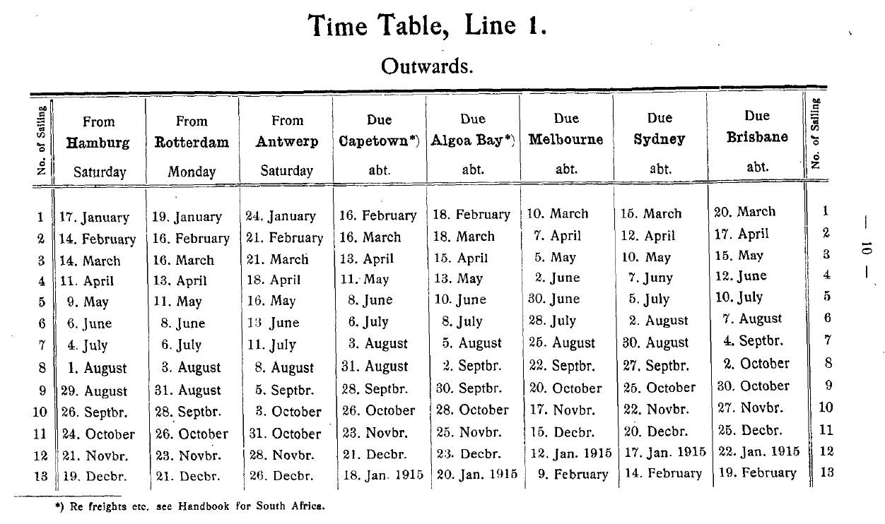 German Australian Line, timetable 1914 outwards