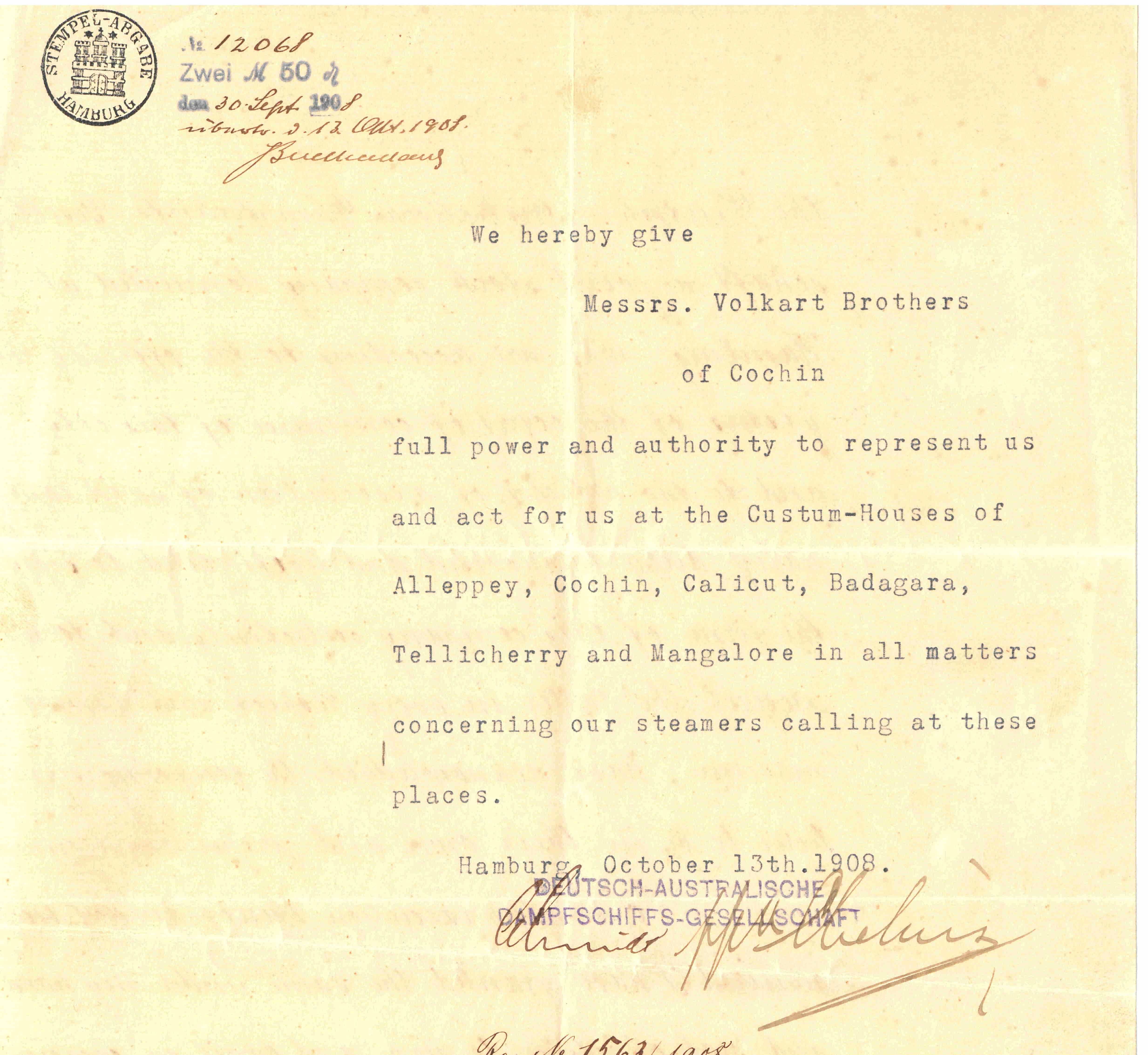 Volkart Brothers Cochin 1908