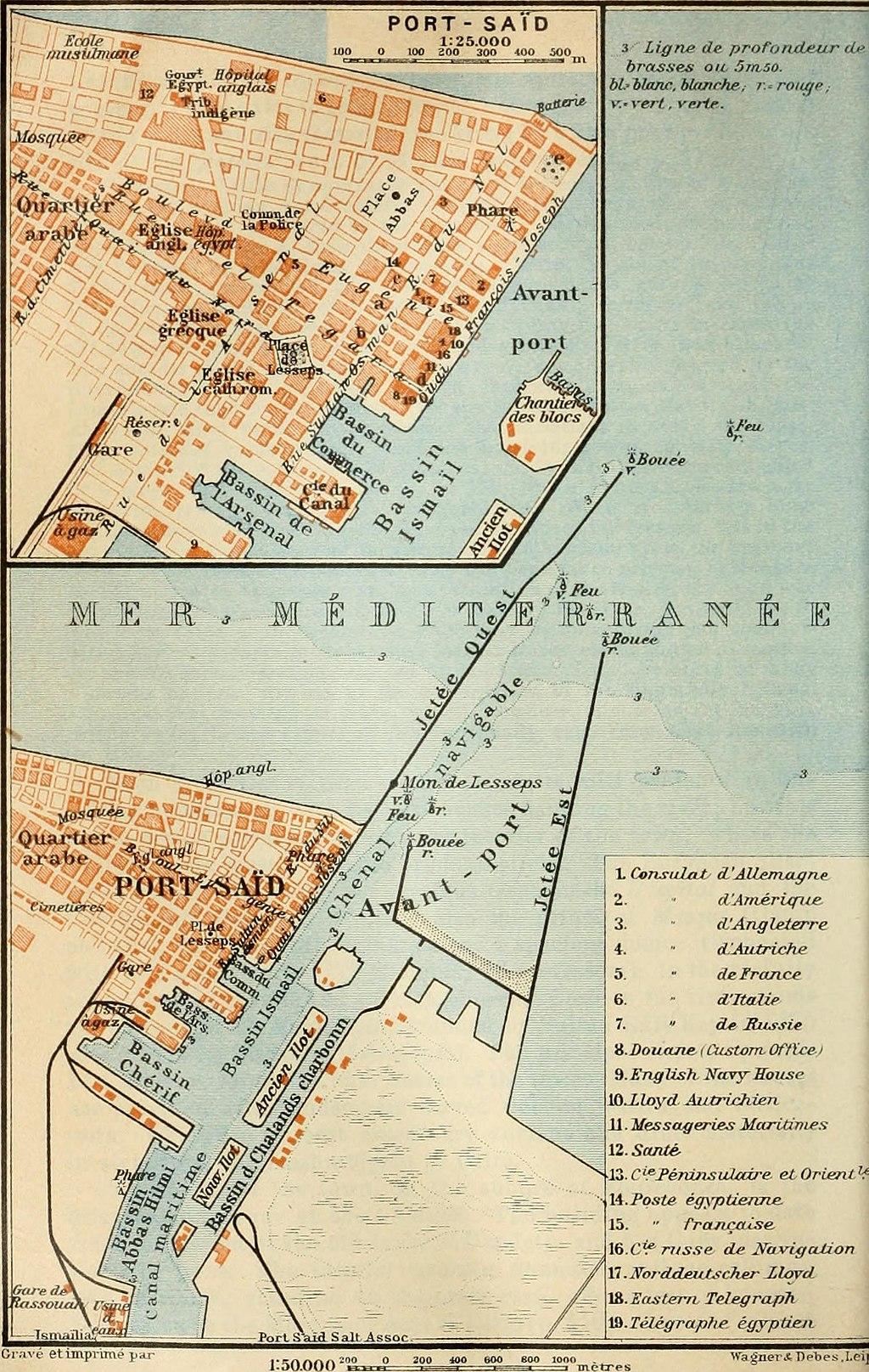Port Said map 1914