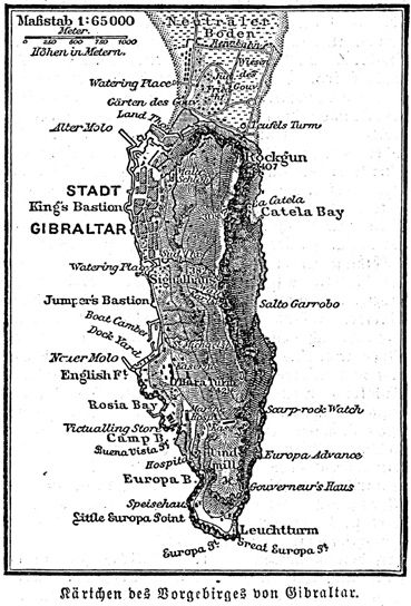 Gibraltar map, about 1885