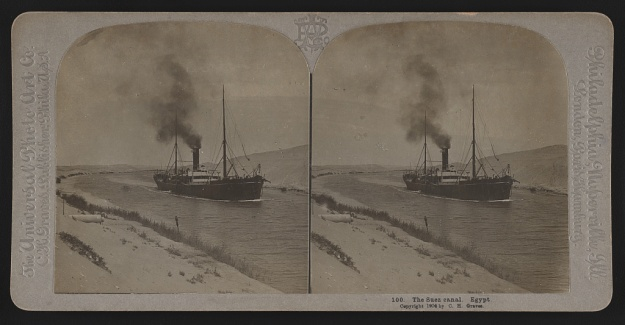 steam ship in Suez canal 1904