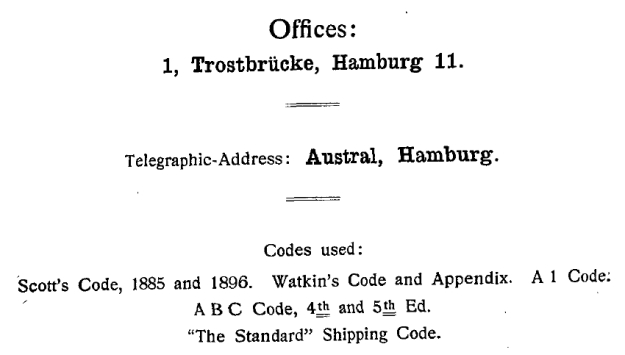 Telegraphic codes, German Australian Line, 1914