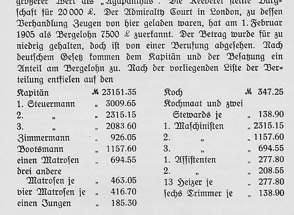 Bergelohn Aufteilung 1905