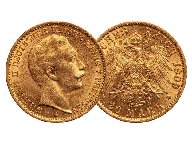 20 Mark Goldmünze Deutsches Reich 1909, Bild: Pixabay