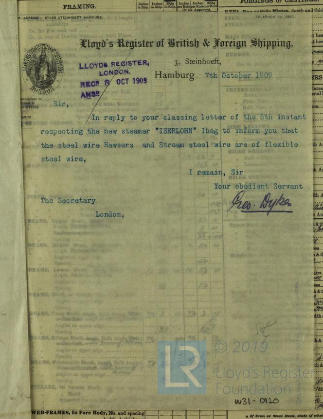 Lloyd's Register, Klassifikation, Iserlohn, 1909