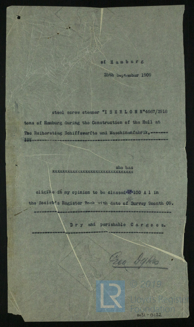 Lloyd's Register, Klassifikation, Iserlohn 1909