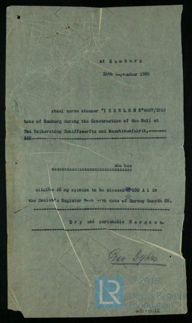 Lloyd's Register, Klassifikation, Iserlohn 1909