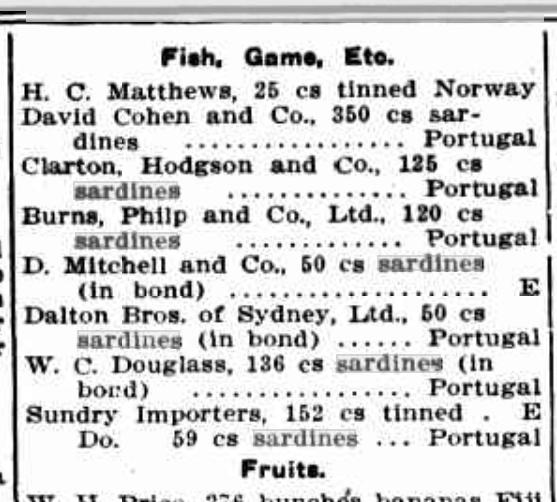 Import Sardines Australia 1911