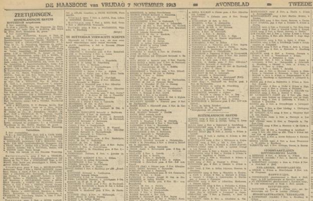 Schiffsmeldungen Tageszeitung 1913, Beispiel
