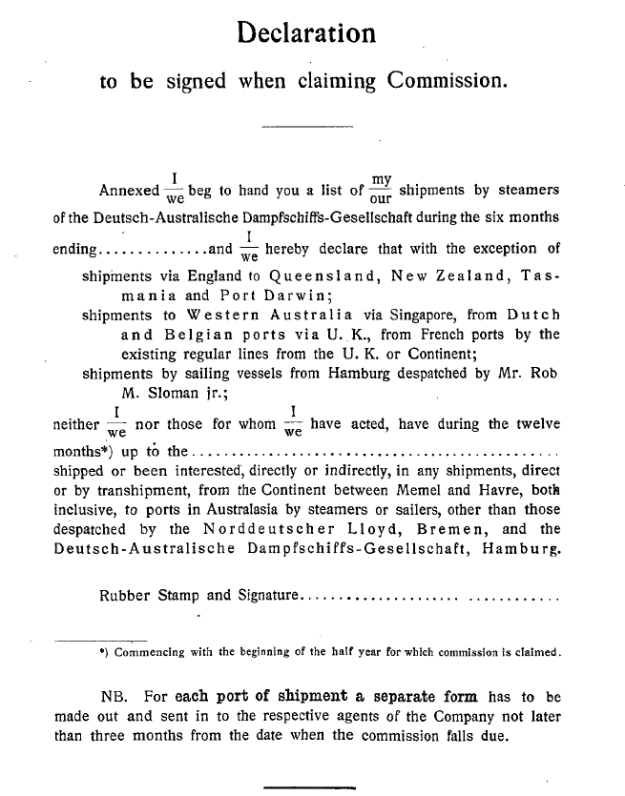 claim for commission, German Australian Line 1914