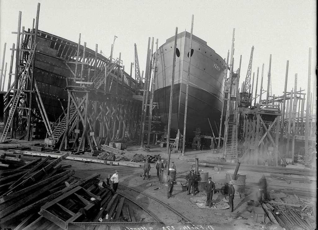 """""""Fürth"""" auf der Helling, Flensburg 1907"""
